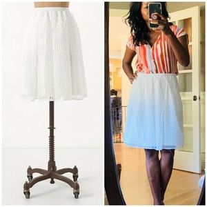 { Anthro } Maeve Lawn Party Eyelet Lace Skirt 10